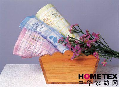 双层刺绣毛巾