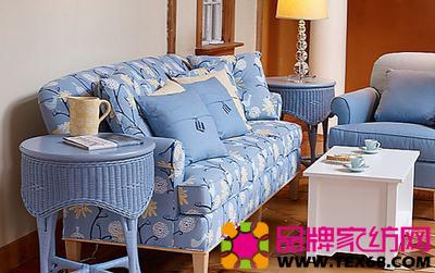 蓝色布艺沙发装饰清爽客厅
