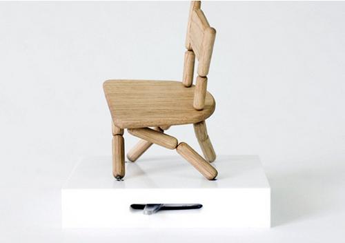 創意家具 木制串珠穿線木偶椅