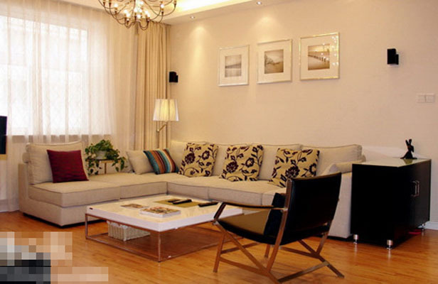 家   】:现代简约【装修户型】:三室两厅客厅系列   装修风高清图片