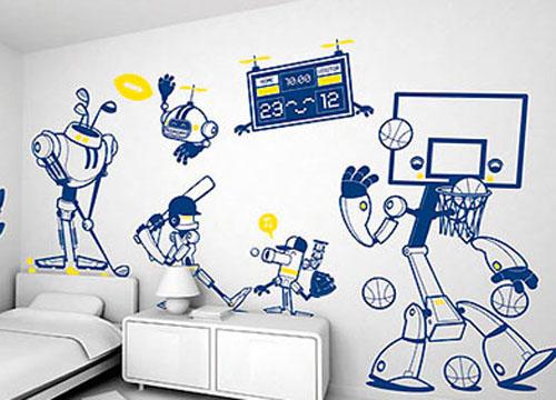 白色手绘孩童幻想墙面