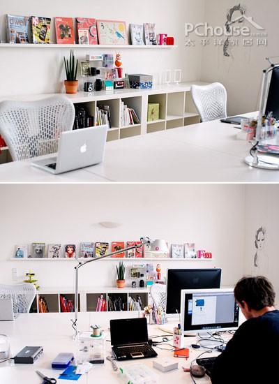 墙壁手绘画   编辑点评:这个办公空间白色为主基调,摆放的书籍和装饰