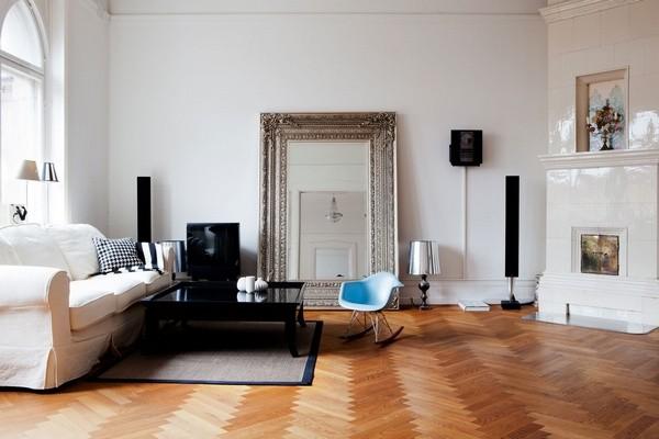 北欧瑞典公寓 斜纹木地板打造轻古典