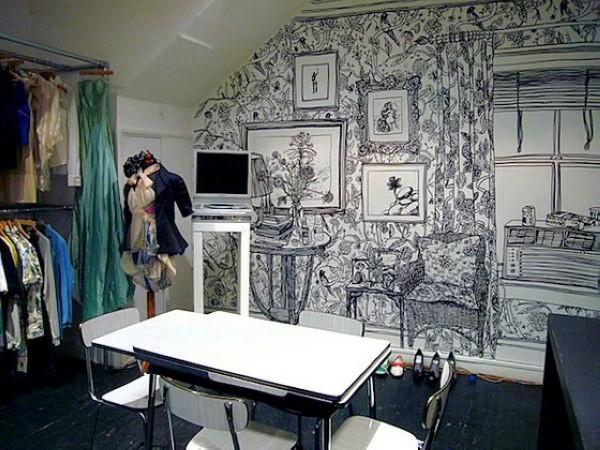 唯美黑白墙绘图案素材