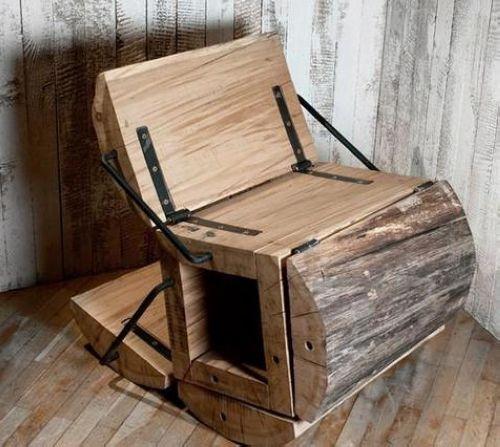 可变形的木头创意座椅