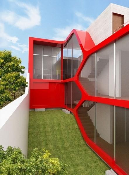 建筑的外形十分有趣,红色的线条仿佛乐高积木一般,鲜明而富有个性色彩