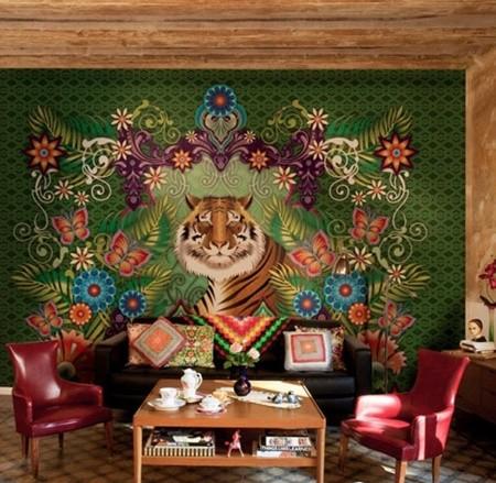 客厅墙面爱美丽 手绘漫画壁纸