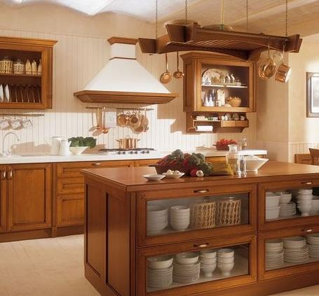 实木橱柜 打造温馨田园厨房