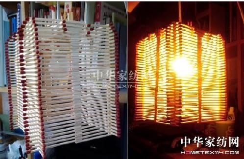 大学生习作 纯手工制作的火柴吊灯